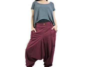Men Women Funky Ninja Harem Burgundy Stretch Cotton Drop Crotch Pants With 6 Pockets