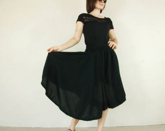 Steampunk Funky Low Crotch Black Viscose Jersey Draped Pants Skirt With Elastic Waist , Asymmetrical Hem & 2 Inseam Pockets