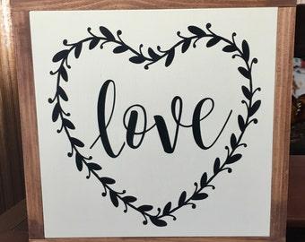 "Love Sign/Farmhouse Vintage Wood Sign/Framed Sign/Farmhouse Decor/Rustic Wood Decor/DAWNSPAINTING/13"" x 13"""