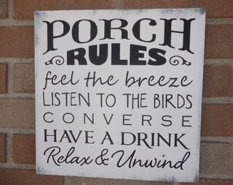 "Porch Rules Sign,Primitive Wood Sign,Sign for the Porch,Home Decor,Decor for Patio,White Distressed Porch Sign,DAWNSPAINTING,12""x 12"""