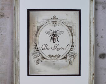 Vintage French Bee Illustration Digital Art Instant Download Honeybee Honey Printable Wall Art Home Decor Scrapbooking Greeting Card