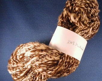 3.0 ounces Handspun Natural Montadale Wool Worsted Weight Yarn, 2-Ply