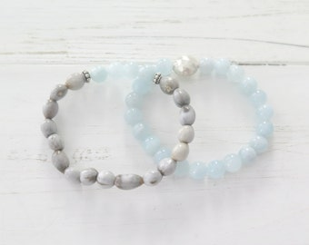 African Imfibinga Boho Beaded Bracelet Set with Hill Tribe Silver / Seed Bead Bracelet / Aquamarine / Bohemian Jewelry / Light Blue Grey