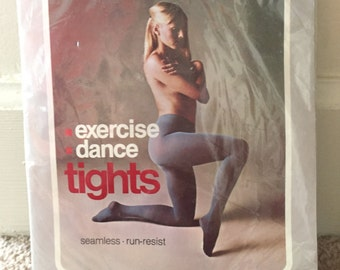 Vintage 1970s Exercise Dance Tights  Panty Hose - Forest Green - Deadstock in Original Packaging - small