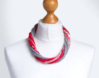Statement necklace, textile necklace, fabric jewelry, fashion gift ideas, simple jewelry, gift ideas