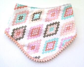 Pom Pom Trim Bib - Tribal Style Bib - Bibdana - Bandana Style Drool Bib - Baby Girl Gift - Boho Style - Boho Baby - Pastel Southwest