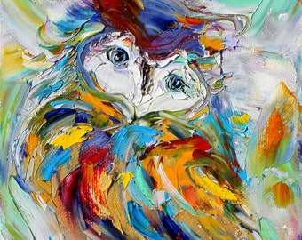 Little Owl painting original oil 6x6 palette knife impressionism on canvas fine art by Karen Tarlton