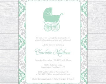 Seafoam Damask Baby Shower Invitation, Personalized Baby Shower Invite, Gender Neutral Baby Shower Invite, Gender Reveal Baby Shower Invite