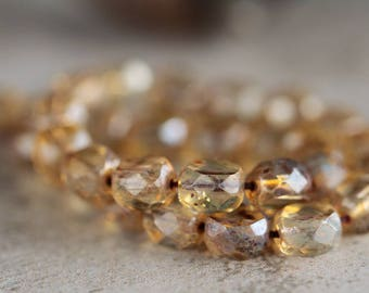 8 mm Topaz Picasso 2-way faceted glass beads, Czech glass fire polished beads, 2 way table cut beads, Faceted glass coins (20pcs)