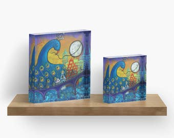 Peacock in City Original Acrylic Art Block Available in Two Sizes