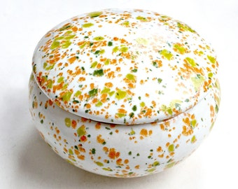 Spatter Glaze Ceramic Box, Retro Vintage Lime Orange Ceramic Box, MOD Covered Spatter Glaze Bowl, Lime Green Orange Mod Glaze Lidded Box