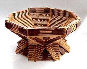 Tramp Art Basket, Handmade Popsicle Stick Basket, Folk Art Basket, Footed Tramp Art Bowl, Footed Popsicle Stick Bowl, Tramp Art Centerpiece