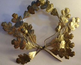 Petite French Silver Oak Leaf and Acorn Wall Ornament, Paris Flee Mkt. Find
