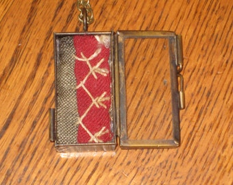 Quilt Locket Necklace Red Antique Quilt Handmade Feather Stitched Gift For Her With Gift Box