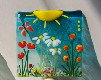 Flower Garden // Fused Glass Night Light // Summer // Sunshine // Bright // Cheerful // Butterfly // Fun // Tulips // Daisy // Ladybug /Cute