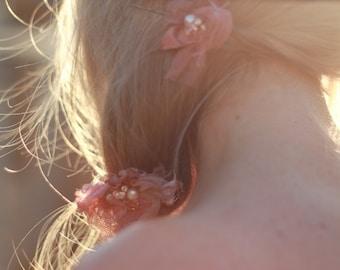 boho hair clips, pink beaded hair clips, gypsy hair clips, rose pink wedding hair clips, woodland wedding clips