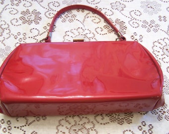 Mid Century Ruby Red Patent Leather Handbag, Red Purse, MCM, Rockabilly, Pin UP, 1950s Patent leather Purse, Top Handle Bag