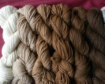 Alpaca Natural Yarn Skein - 3 ply 160 Yard Hank - White, Light Fawn, Dark Fawn, Light Brown, Medium Brown, Dark Brown - Soft and Luxurious