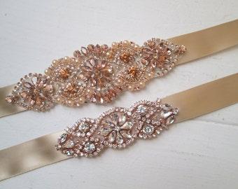 Rose Gold & Champagne Bridal Bracelet set of 2, Blush Rhinestone Wedding Cuffs, Rose Gold, Blush Vintage Bridal Bracelet, Rustic Bridal Cuff