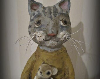 Tabby cat- papier mache- folk art- anthropomorphic- cat doll - ooak doll