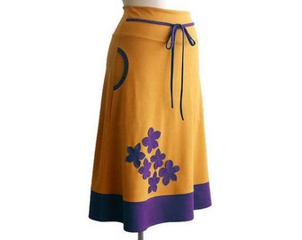 Skirt with pockets, Womens skirts, A line midi skirt, High waisted skirt, Yellow mustard skirt, dark violet skirt