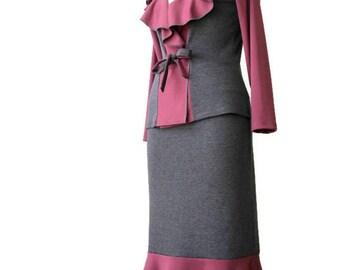 SALE Womens long pencil skirt with ruffles, Grey pencil skirt, Ruffled skirt, Jersey long skirt, XL skirt, US 16-18 skirt, Womens skirts