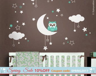 Owl Wall Decal, Owl Moon Stars and Clouds  Wall Decal, Moon and Stars Wall Decal, Owl Nursery Kids Wall Sticker, Clouds Night Wall Decal