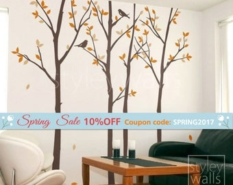 Forest Trees and Birds Wall Decal, Autumn Trees Wall Decal, Trees and Birds Wall Decal, Thin Birch Tress Wall Decal Sticker for Home Decor