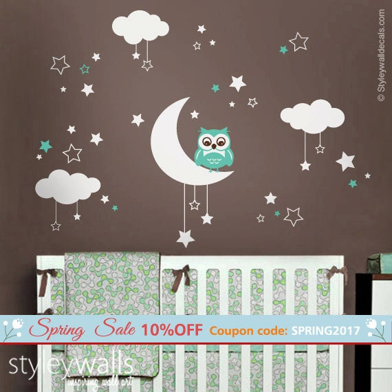 Owl Wall Decal, Owl Moon Stars And Clouds Wall Decal, Moon And Stars Wall  Decal, Owl Nursery Kids Wall Sticker, Clouds Night Wall Decal Amazing Ideas