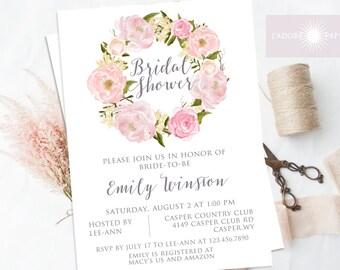 Floral Wreath Bridal Shower Invite, Calligraphy Invite, Bridal Shower, Wedding Shower, Printable Invite, Peony Invite, jadorepaperie