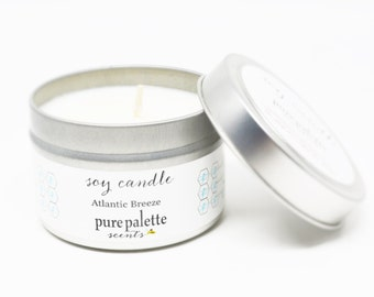 Soy Candle Atlantic Breeze -Travel Tin Candle -  / 4 oz. Scented Candle