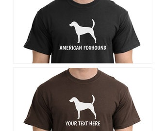 American Foxhound Dog Silhouette Custom T-Shirt - Men Women Youth Kids Long Sleeve Personalized Tee
