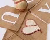 I Love You Banner, Burlap, Wedding Photo Prop, Baseball, Sports, Valentine's Day, Engagement, I Heart You, Proposal, Wedding Decoration, MLB