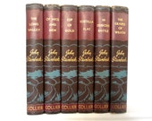 Steinbeck, very nice vintage set of six books, 1930's, P. F. Colliers and Sons, brown covers with embossing, a wonderful gift