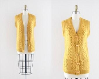 S A L E mustard wool sweater vest / 1960's