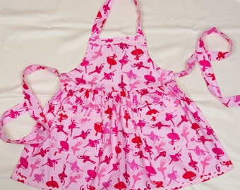 Little Girl Pink Apron with Beautiful Ballerinas