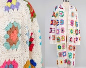 Vintage 70s hand knit GRANNY SQUARE cardigan / Long RAINBOW crochet cardigan / Hand made bohemian sweater
