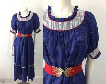 Vintage 1970s Mako Hawaii Hawaiian Prairie Style Dress