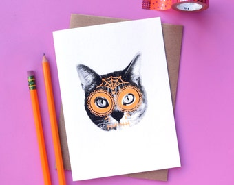 gee whiskers series: day of the dead screenprinted notecard
