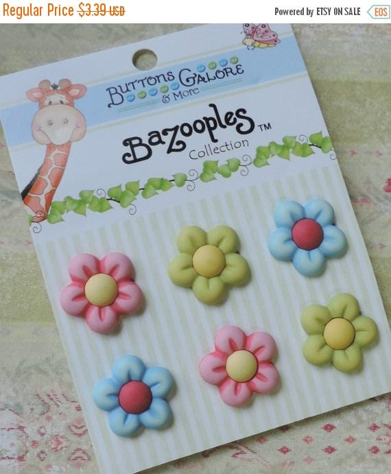 """SALE Flower Buttons, Carded Assortment """"Multi Flowers"""" by Buttons Galore, Bright Colored, 3D, Shank Back Buttons, Embellishments"""