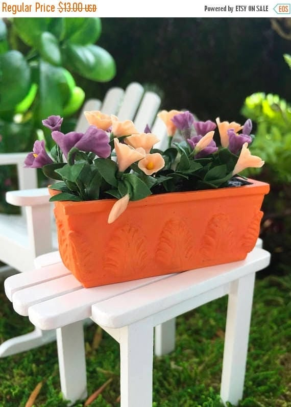 SALE SALE Miniature Petunias in Window Box, Dollhouse Miniature, 1:12 Scale, Dollhouse Flowers, Miniature Flowers, Purple Petunias