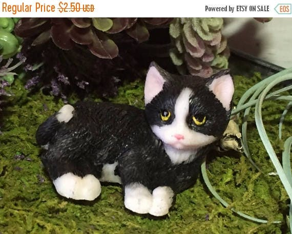 SALE Mini Kitten Figurine, Black and White, Fairy Garden Accessory, Home Decor, Topper, Gift, Kitty Cat Figurine Laying Cat