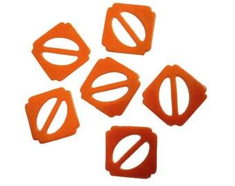 Price Per Dozen But May Buy 1 - VINTAGE ORANGE  BUCKLES - 1940s Orange Vintage Molded Plastic  - Destash Never Used