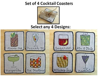 Set of 4 COCKTAIL - Handmade Fiber Folk Art Coasters - Classic Cocktails - Upcycled Fabrics, Embroidered, Individually Designed