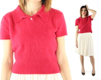 Vintage 80s Angora Sweater Short Sleeve Red Collared Fuzzy 1980s Medium M 1950s 50s Pinup Rockabilly Holiday Limited