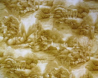 Bloomcraft Screen Print Picturesque Country Home, Stream, Gazebo Upholstery Fabric 56 x 1 1/2+ YD