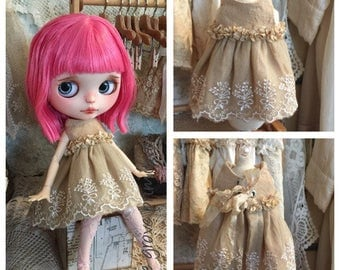 Handmade vintage style lace Blythe doll dress handmade by Olive Grove Primitives