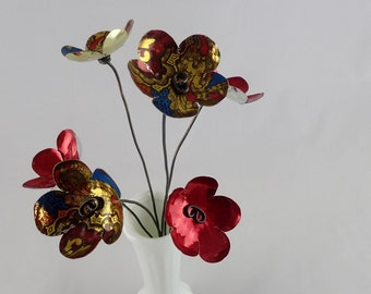 Red and Gold Bouquet of Forever Blooming Tin Flowers