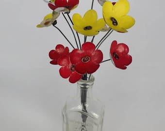 Exciting Red and Yellow Bouquet of Tin Forever Blooming Flowers
