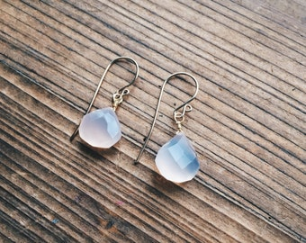 Rose Quartz Earrings and 14K Gold Filled French Hook Earrings Handmade in Indiana by Salame Littles Gemstone Collection Quartz Drops